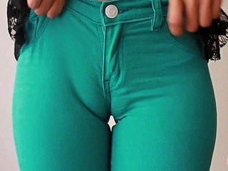 Sweet Cameltoe In Tight Green Denim Jeans! Ass Perfection! | asscameltoesweettight