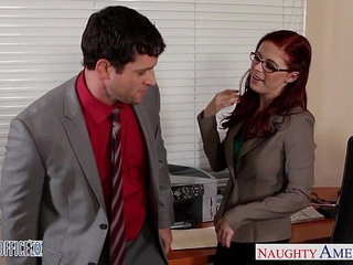 Redhead cutie in glasses penny pax fuck in the office | cuteglassesofficeredhead