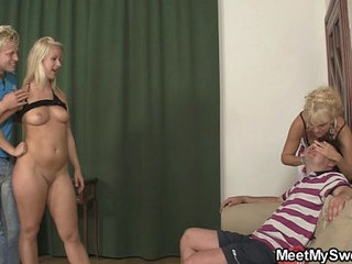 Older woman seduces sweet girl into threesome | 3someolder womanseductionsweet
