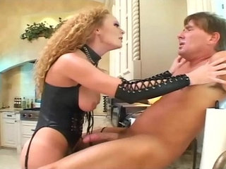 Roleplay sex in leather and fishnet stockings | fishnetsleatherold manstockings