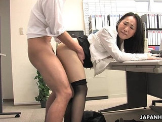 Asian lady shagged by two coworkers in her office   asianoffice