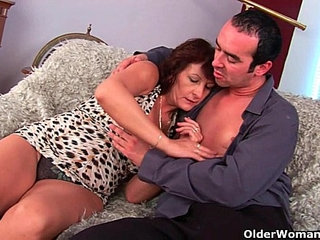 Grandma with hairy pussy sucks his pussy creamed cock | cockgrandmahairypussy